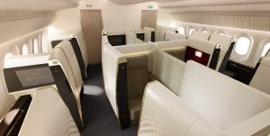 """Passagierkomfort, auch akustischer Komfort spielt eine große Rolle. Hier die Erste Klasse im neuen Boeing 787 """"Dreamliner"""" von Etihad Airways. (#5)"""