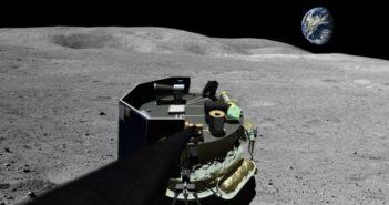 Mondland in Sicht: wie Moon Express kommerzielle Mondflüge realisieren will. Was unser Foto zeigt, könnte bereits 2017 Wirklichkeit sein: Moon Express' MX-1 nach der Landung auf dem Mond.