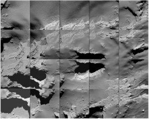 """Ein aus mehreren Fotos zusammengesetztes Mosaik der Region, in der """"Rosetta"""" auf dem Kometen etwa mit Schrittgeschwindigkeit aufgesetzt hat. (#06)"""