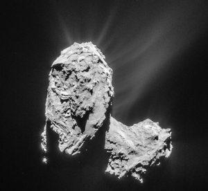 Der Komet rotiert zwar, aber so etwas wie eine symmetrische Form hat sich nicht gebildet. Hier eine Aufnahme vom 21. März 2015. (#04)