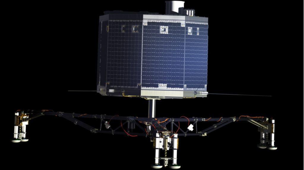 """An der Landeeinheit """"Philae"""" arbeiteten Wissenschaftler und Ingenieure aus ganz Europa mit. Die mit Solarzellen verkleidete Sonde hat etwa die Größe einer Waschmaschine und wiegt rund 100 Kilo. Eigentlich sollte sie sich mit Harpunen und speziellen Eisschrauben auf der Oberfläche verankern, aber das misslang. So war """"Philae"""" nur rund 60 Stunden aktiv, aber trotz allem der erste menschliche Flugkörper, der auf einem Kometen landete. (#12)"""