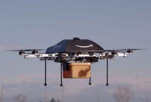 Eine der Lieferdrohnen, mit denen Amazon Prime Air bestellte Ware zu seinen Kunden fliegen will.  (#01)