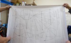 So hat alles angefangen: Der Bauplan des Lilienthal-Gleiters, gezeichnet nach den Original-Unterlagen des Luftfahrtpioniers.