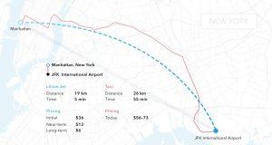 Route (und Preis) eines Lilium-Jet-Flugtaxis vom New Yorker John-F-Kennedy-Airport nach Manhattan (Blau), im Vergleich dazu (Rot) der Weg, den ein Bodentaxi nehmen müsste. Das Flugtaxi ist deutlich preiswerter – zumindest in der Modellrechnung.
