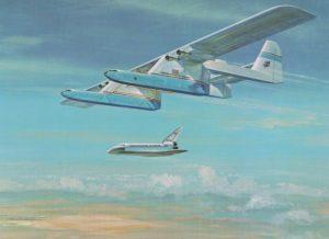 """Die Conroy """"Virtus"""" sollte erst den Space Shuttle-Prototypen zu Flugtests in die Höhe tragen, dann Raumfähren, Außentanks und Bauteile für die Startraketen transportieren. (#6)"""