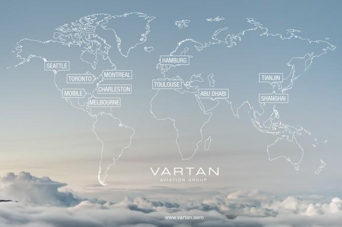 Weltweit präsent: Die Standorte der Vartan Aviation Group.