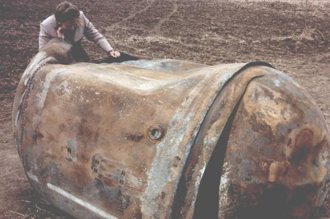 Dieser Treibstofftank einer US-Trägerrakete schlug 1997 nahe Georgetown/Texas ein. (#7)