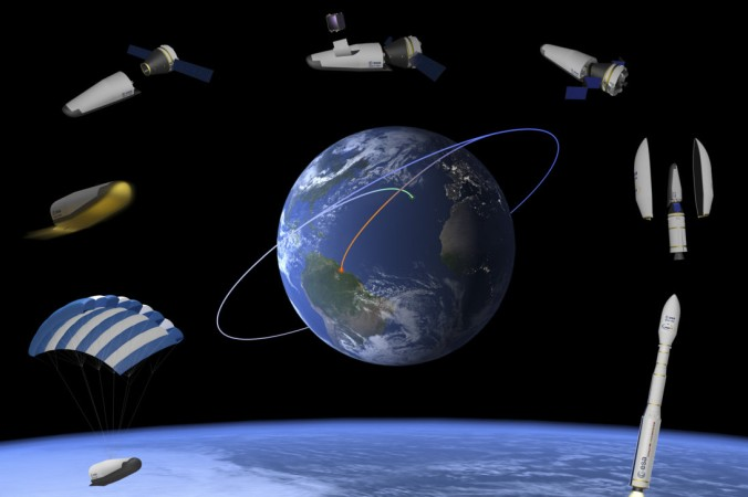 Mission des ESA Space Rider verlaufen: Raketenstart in Kourou, Flug in den niedrigen Erdorbit von 400 Kilometern Höhe, danach Landung am Fallschirm. (#1)
