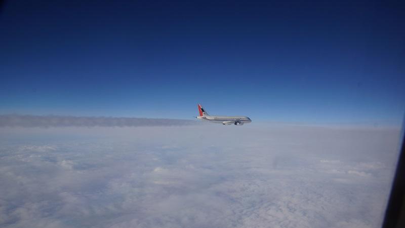 Die A320 flog mit konventionellem Treibstoff, aber auch mit alternativen Kraftstoff-Mischungen, denen Biokraftstoff beigemischt war. (#04)