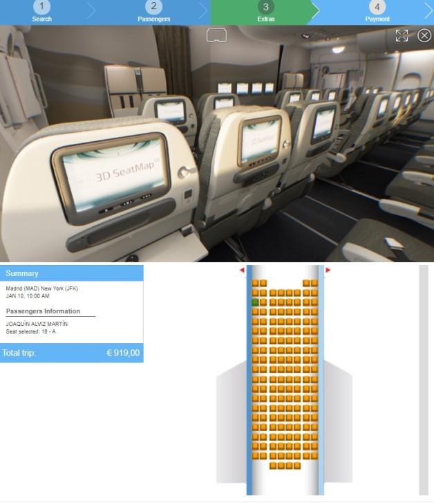 """Die """"3D Seat Map VR"""" bietet dem Passagier bei der Sitzbuchung einen 360-Grad-Blick aus der Perspektive des gewählten Platzes. (#9)"""