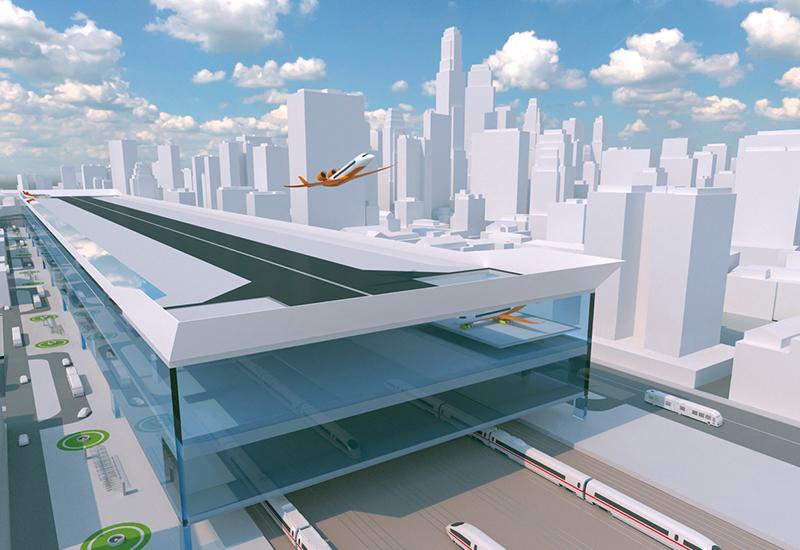 """So stellen sich Experten am Bauhaus Luftfahrt die """"CentAirStation"""" vor. Sie soll maximal 650 Meter lang und 90 Meter breit sein. (#8)"""