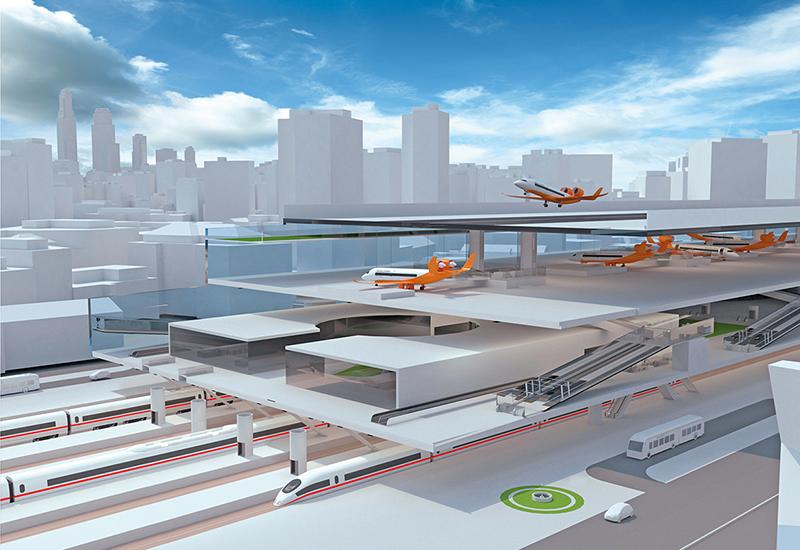 Das Prinzip der CentAirStation verbindet Flughafen und Bahnhof. Auf der obersten Ebene findet der Flugbetrieb statt, darunter werden Flugzeuge und Passagiere abgefertigt, und auf der untersten Ebene liegt der Bahnhof. (#9)