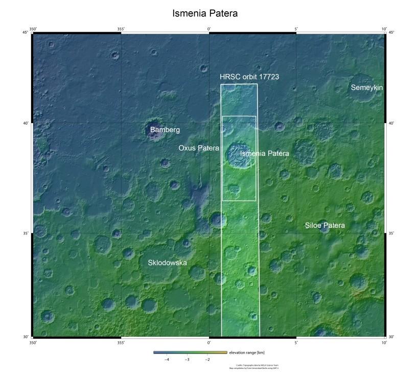 Dieses Mosaik zeigt den vermutlichen Super-Vulkan Ismenia Patera in der Region Arabia Terra. (#2)