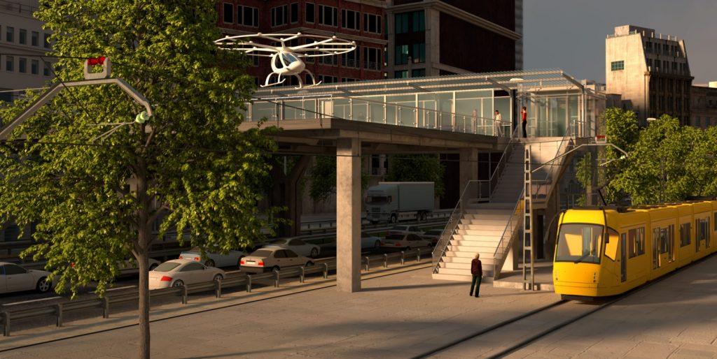 Volocopter könnten auf speziellen Plattformen mitten in der Stadt landen, sodass Passagiere direkt in Straßenbahn oder Auto-Taxi umsteigen können. (#3)
