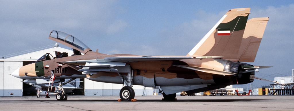 """F-14A der Navy Fighter Weapons School ist getarnt wie eine iranische F-14 und dient regulären """"Tomcat""""-Besatzungen als Sparrings-Partner. Die F-14 stellte bei Luftkampfübungen auch die ungefähr gleich große sowjetische Sukhoi Su-27 Flanker dar.  (#9)"""