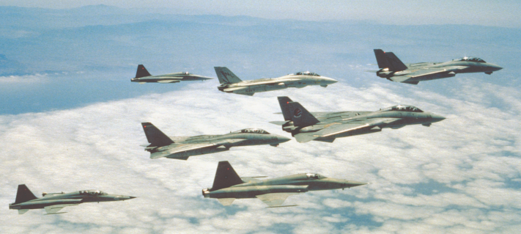 """Jets der US Navy-Jagdstaffel VF-111 in Formation, die bei den Flugszenen von """"Top Gun"""" mitwirkten. Vier größere F-14A """"Tomcats"""" fliegen zusammen mit zwei Einsitzern vom Typ Northrop F-5E """"Tiger II"""" und einer zweisitzigen F-5F am Schluss der Formation.  (#2)"""